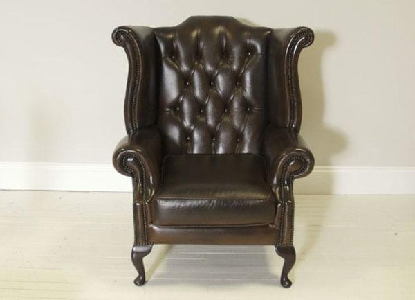 PRE-LOVED SECOND HAND LEATHER CHESTERFIELD WING BACK CHAIR IN RICH CHOCOLATE BROWN