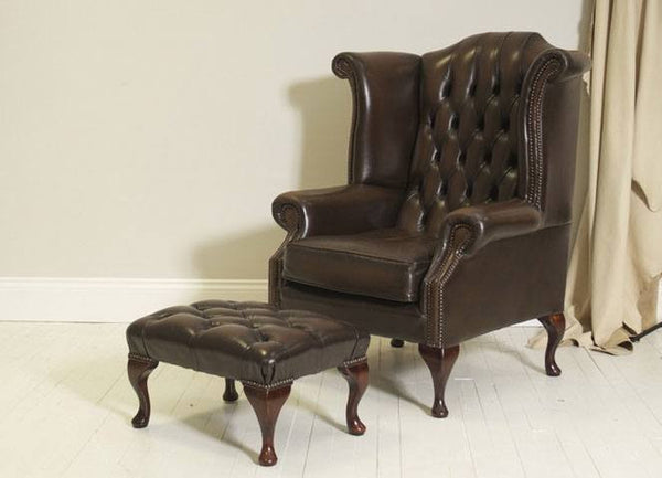 IMPRESSIVE QUEEN ANNE WING CHAIR WITH FOOTSTOOL