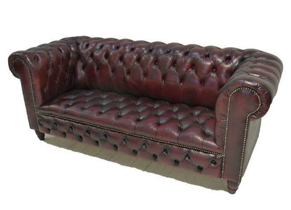 FULLY BUTTONED RESTORED CHESTERFIELD IN DEEP RED WINE