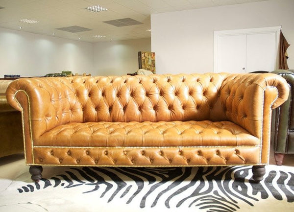 Wilmington Chesterfield Sofa: Hand Dyed Honey Leather