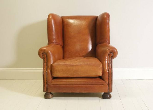 THE PEEL ARMCHAIR: HAND DYED BURNT COPPER LEATHER