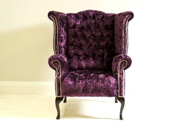 Stunning Timeless Queen Anne Wing Back: Shown Here In Plum Velvet