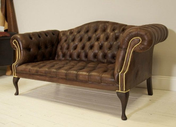 ROCKINGHAM CHIPPENDALE SOFA: HAND DYED DARK OAK