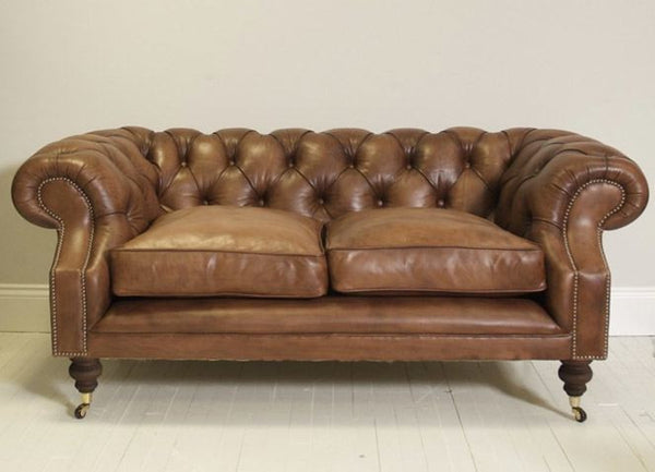 DEVONSHIRE CHESTERFIELD SOFA HAND DYED MOCHA TAN LEATHER