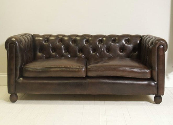 BLUHME CHESTERFIELD SOFA: HAND DYED RICH WALNUT LEATHER