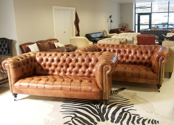 WILMINGTON CHESTERFIELD SOFA: HAND DYED TAN LEATHER