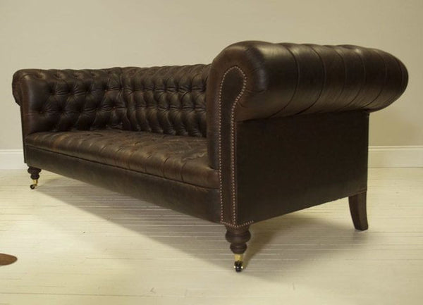 WILMINGTON CHESTERFIELD SOFA: HAND DYED COWBOY BROWN LEATHER