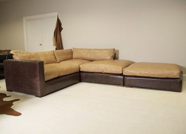 The Modular Corner sofa: Shown Here With Chocolate Brown Base And Parchment Cushions