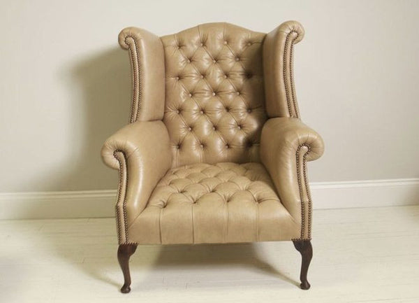 PORTLAND QUEEN ANNE CHAIR: TAUPE LEATHER