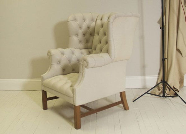 PORTLAND QUEEN ANNE CHAIR: PRE-DYED RUSSET LEATHER
