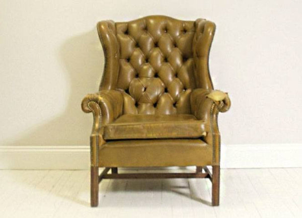 VERY COOL QUEEN ANNE TAN WING BACK CHAIR