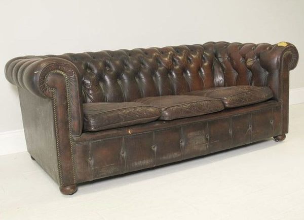 VINTAGE COIL SPRUNG LEATHER SOFA BY MILLBROOK IINDUSTRIES