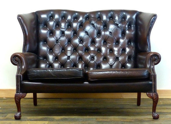 SUPERB VINTAGE QUEEN ANNE TWO SEATER SOFA WITH BALL & CLAW LEGS