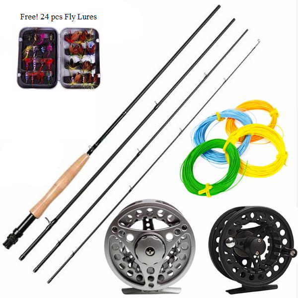 2.7M Carbon 4 Sectionn Fly Fishing Rod with a Fly Reel Combo and FREE Line and Lures Kit
