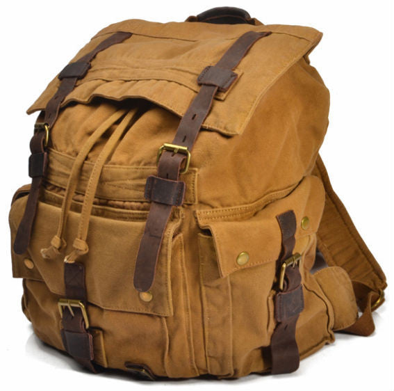 Vintage Military Canvas Leather Men's Backpack