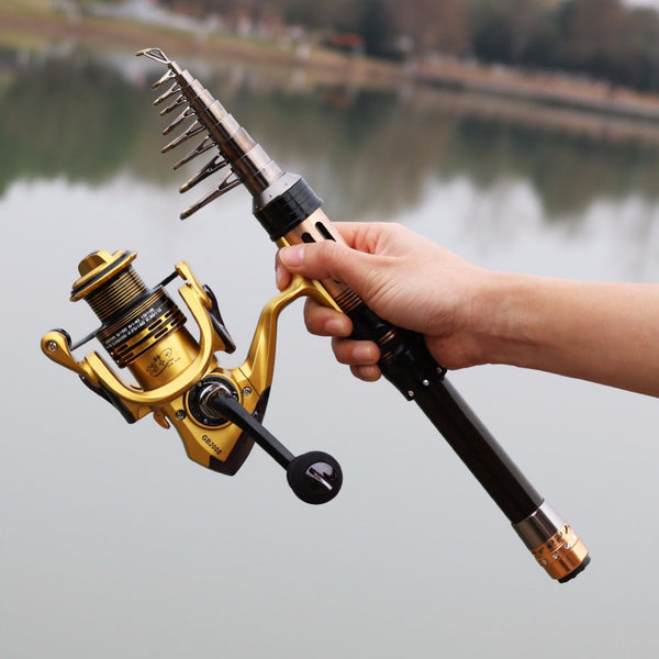 Ultra-short Telescopic Carbon Fishing Rod and Reel Combo