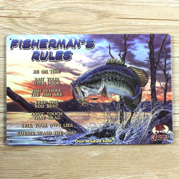 'Fisherman's Rules' Home Decore Vintage Style Fishing Tin Sign