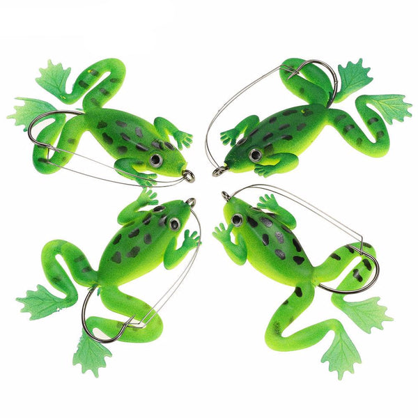 4 Piece Soft Topwater Single Hook Frog Fishing Lure
