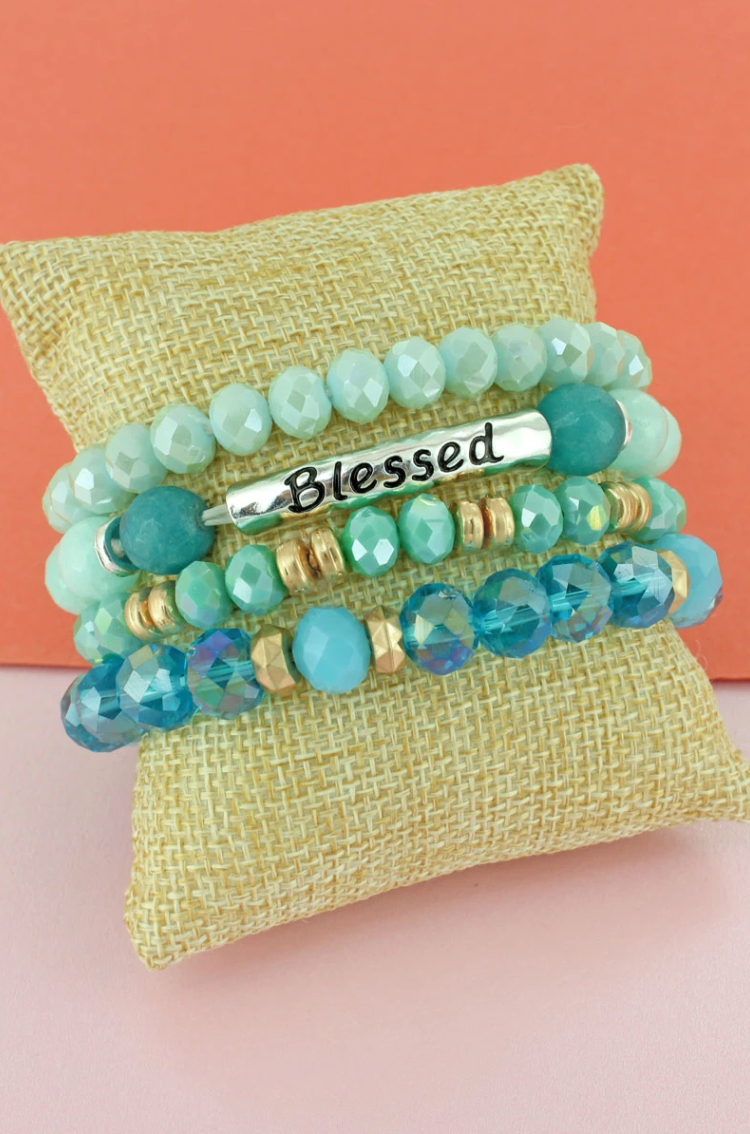 MINT AND TWO-TONE 'BLESSED' BEADED BRACELET SET