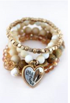 Two-Tone 'Blessed' Wing and Tree of Life Charm Natural Beaded Bracelet Set