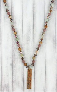 WORN GOLDTONE 'I'M BLESSED' BAR NATURAL MULTI BEAD NECKLACE
