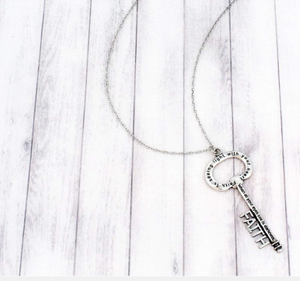 BURNISHED SILVERTONE 'FAITH' KEY PENDANT NECKLACE