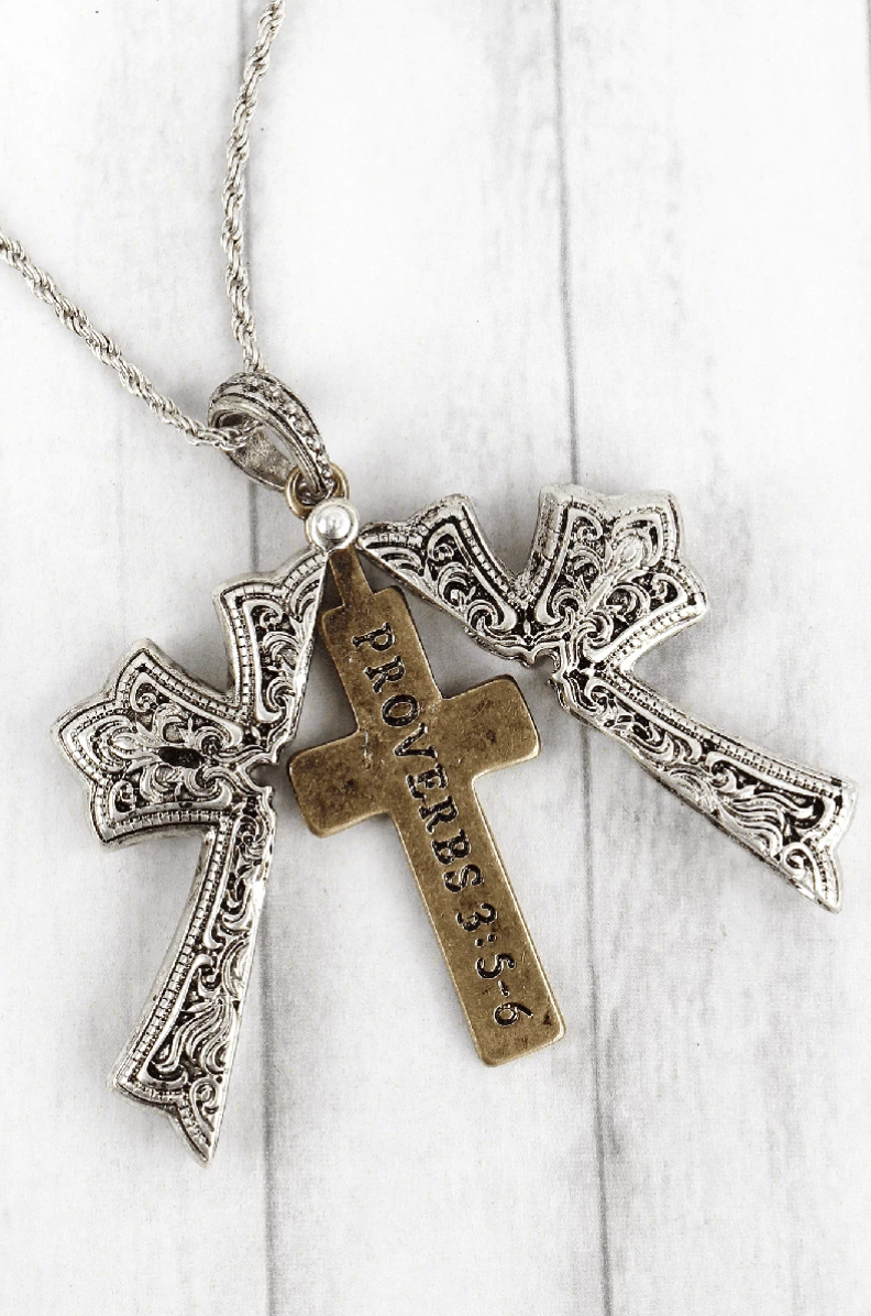 Proverbs Cross Message Locket Necklace