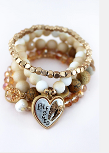 'BLESSED' WING AND TREE OF LIFE CHARM NATURAL BEADED BRACELET SET