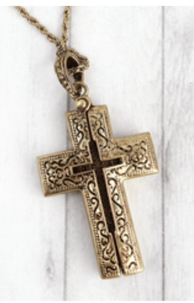 GOLD TONE CROSS MESSAGE LOCKET NECKLACE
