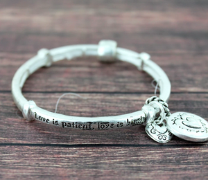 LOVE IS PATIENT STRETCH BRACELET WITH CHARMS