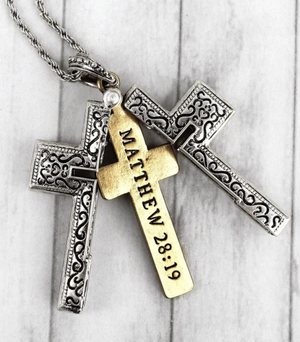 Burnished Locket Cross - Matthew 28:19