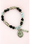 Cross and 'Blessed' Charm Black Beaded Bracelet
