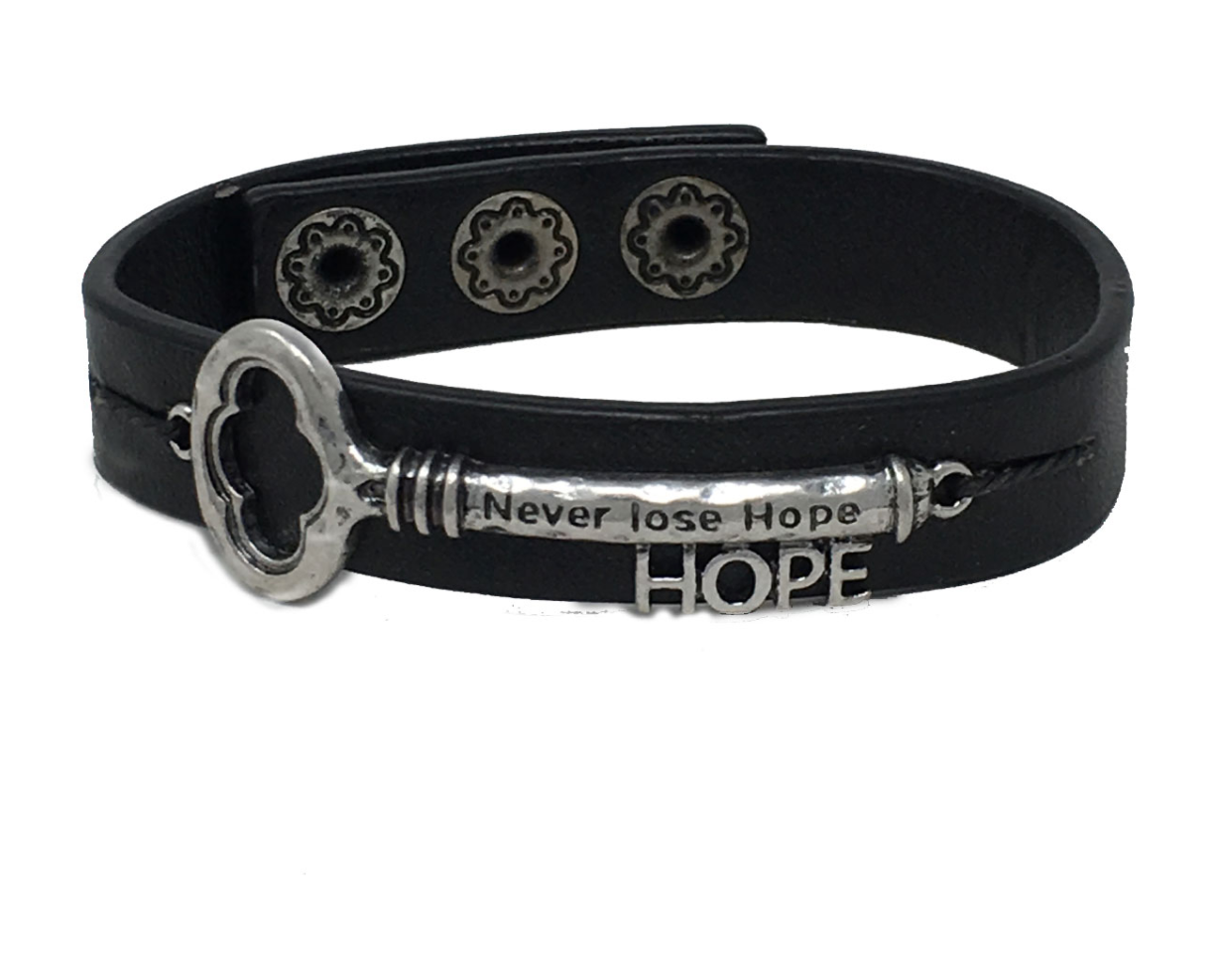 Leather Faith Bracelet - Never Lose Hope