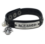 Leather Faith Bracelet - Blessed