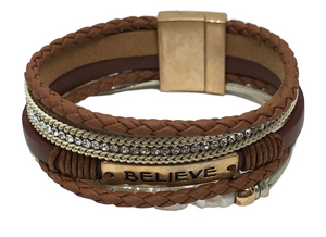 Multi-Strand Leather Statement Bracelet