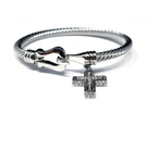 Pave Cross Hook Cable Bracelet