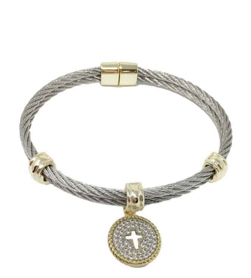 Two Tone Cross Paved Cable Bracelet