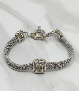 Two Toned Square Pave Toggle Bracelet