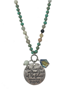 Beaded & Silver Toned Proverbs 31 Necklace