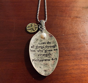 Worn Two-Tone Philippians 4:13 Ball Chain Necklace