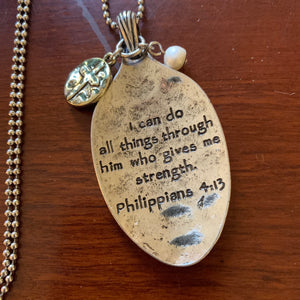 Philippians 4:13 I Can Do All Things - SPOON PENDANT