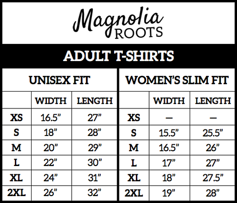 Magnolia Roots Size Chart