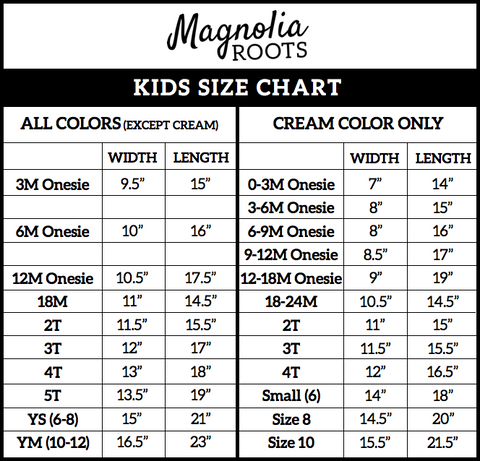 Kids Size Chart - Magnolia Roots
