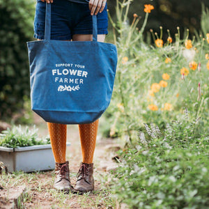 Flower Farmer Tote Bag - Blue