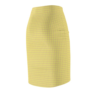 Women's Brushed Suede Pencil Skirt ~ Limelight Check