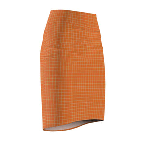 Women's Brushed Suede Pencil Skirt ~ Persimmon Check