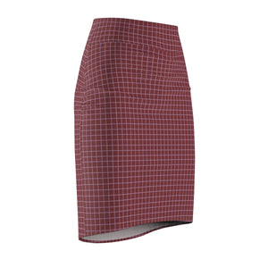 Women's Brushed Suede Pencil Skirt ~ Saffron Check