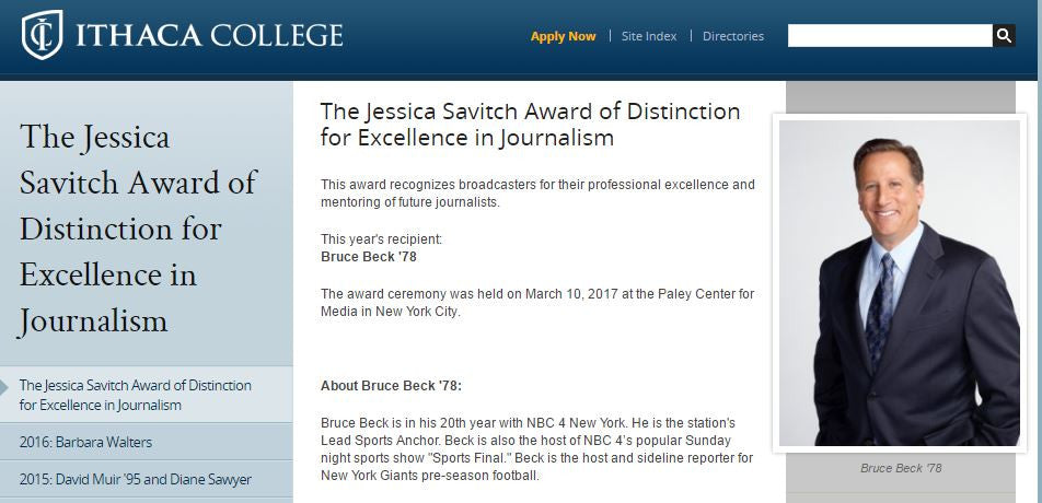 Thanks Ithaca College for the wonderful honor!
