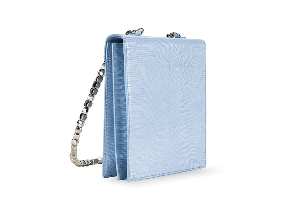 Allegra Blue Lizard Embossed Leather