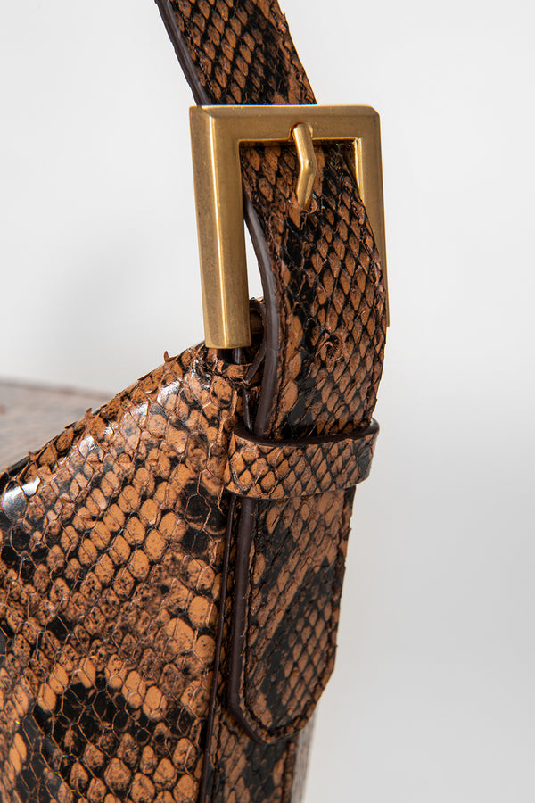 Celeste Brown Snake Print Leather